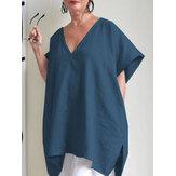 Plus Rozmiar Elegancka jednolity kolor bluzka damska z krótkim rękawem