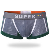 Mens Mesh Breathable Sweat Absorbent U Convex Boxer Contrast Color Underwear