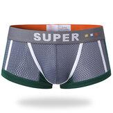 Mens Malha Respirável Suor Absorvente U Convex Boxer Contrast Underwear Color