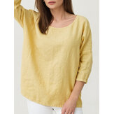 Women Solid Color Cotton Linen Crew Neck Half Sleeve T-Shirt