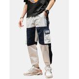 Coulisse in cotone applique patchwork da uomo Carico Pantaloni con tasca pratica
