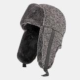Algodón unisex Plus Espesar Plus Terciopelo Cálido a prueba de viento Oreja Protección al aire libre Trampero plegable Sombrero