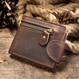 Men Genuine Leather Cowhide Multifunction Zipper Foldable Card Holder Wallet