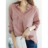 Women Lapel Buttons Fold Sleeve Casual Loose Blouse