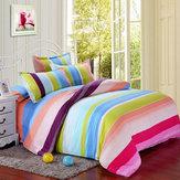 Poliéster listras coloridas rainha do rei única cama conjunto reativa folha de cama capa de edredon fronha