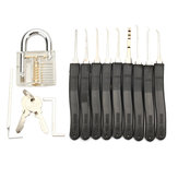 Transparent Inner Visual Padlock Practice Set with 9Pcs Unlocking Lock Pick / Key Lock Pick Tools