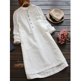 Women Vintage Long Sleeve Buttons Cotton Mini Shirt Dresses