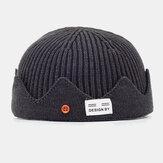Unisex Solid Colo r Lana de otoño e invierno Keep Warm Brimless Cráneo Cap Knit Sombrero