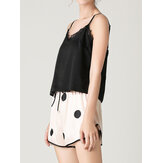 Dames Zwart Kant V-hals Mouwloos Vest Polka Dot Shorts Home Smooth Pyjama Set