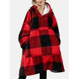 Women Flannel Plaid Fleece Lined Warm Wearable Blanket Hoodie With Front Pocket