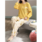 Plus Size Women Floral & Letter Print V-Neck Long Sleeve Home Casual Pajama Set