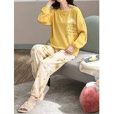 Plus Size Damen Blumen- & Buchstabendruck V-Ausschnitt Langarm Home Casual Pyjama Set