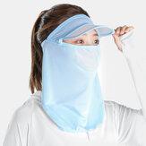 Kobiety Ice Silk Jednoczęściowy kapelusz Rondo 360 stopni Czoło Ochrona szyi Pełnotwarzowy krem przeciwsłoneczny UV Maska ochronna