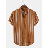 Mens Vintage Striped Loose Comfy Casual Henley Shirts