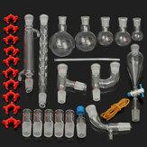 29個/セット24/29実験用ガラス器具キット25/50/100/250/500mLフラスコ実験室用化学ガラスグラウンドジョイント蒸留分離