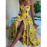 Dames bloemenprint button-up mouwloze slanke bandeau maxi-jurken