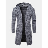 Mens Knitted Long Sleeve Side Pocket Mid-Length Sweater Cardigans