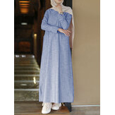 Women Vertical Stripe Cotton Long Sleeve Casual Kaftan Maxi Dresses With Pockets