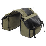 Motorcycle Saddlebags Canvas Side Back Pack Bike Multi-Purpose Luggage Bag Army Green