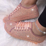Women Sequined Low Top Breathable Wearable Casual Flats