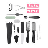 23PCS Portable Pedicure Kit Rasp Foot File Callus Remover Scraper Nail Care Tool