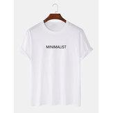 Minimalistischer Textdruck 100% Baumwolle Basic Kurzarm-T-Shirts