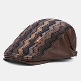 Collrown Erkekler Retro Casual Outdoor Dalgalı Şerit Desen Patchwork Bere Şapka İleri Şapka