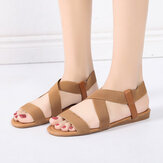 Women Elastic Band Cross Strap Slip On Causal Flat Sandals