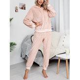 Conjunto de pijama de pelúcia feminino Soft com capuz e bolso elástico na cintura Calças