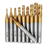 Drillpro 10pcs Titanium Coating 1.5-6.0mm HSS 4 Flauta Fresa Fresa CNC 6mm Haste Brocas