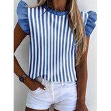 Kadın Çizgili Baskı Ruffles Cap Sleeve Günlük Bluzlar