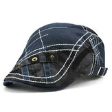 Men Cotton Beret Cap Stripes Bordados Camuflagem Casual Sport Cabbie Hats