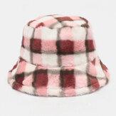 Unisex Lamb Hair Contrast Χρώμα Ζεστό Καθημερινό Καπέλο Ζευγάρι Καπέλο Κουβά
