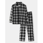 Katoenen klassieke geruite print voor heren, losse pasvorm, comfortabele pyjama-set voor thuislounge met lange mouwen