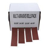 Drillpro 4pcs 25mmx6m Lijado Cinturón Rollo de lija de tela de esmeril dibujable Lijado Cinturóns Soft Rollo de papel de lija para volteadores de madera