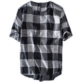 Herre Plaid Bomuld Casual Løse T-Shirts Sommer Toppe
