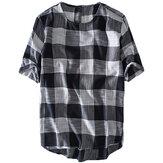 Mens Plaid Bomull Casual Lösa T-shirts Sommar Toppar