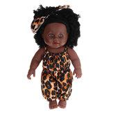 Simulação de 12 polegadas Soft Silicone Vinil PVC Preto Moda Bebê Boneca Girar 360 ° African Girl Perfect Reborn Boneca Brinquedo para presente de aniversário