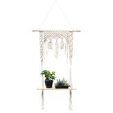 2 Layers Wooden Wall Hanging Tassel Floating Shelf Bohemian Handmade Macrame Hanging Planter Basket Plant Hanger Pot Home Decor