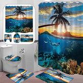 Bathroom Shower Curtain Beach Tree Printing Waterproof Toilet Cover Mat Non-Slip Bathroom Rug Set for Bathroom Decor