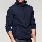 Men's Zipper Collar Hooded Solid Color Overhead Sweatshirt