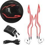 4'ü 1 arada Yükseltilmiş Kask Gece Sürme Soğuk Işık Su Geçirmez Motosiklet Sinyal Yanıp Sönen Şerit LED Işıklı Etiket Şeridi USB Şarj Cihazı