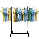 Adjustable Double Cloth Hanger Drying Garment Stand On Wheels Shoe Rack