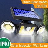 1 unidade / 2 unidades 3 cabeça LED luz solar PIR movimento Sensor lâmpada de parede giratória jardim exterior iluminação de rua à prova d'água