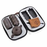 Portable Teapot Set Chinese Gongfu Ceremony Purple Clay Cups Caddy Carry Bag