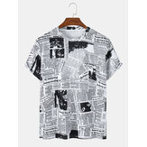 Mens Newspaper Print Round Neck Short Sleeve Casual T-Shirts