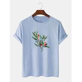Mens boom grafische borst print 100% katoen dun causaal los T-shirt met korte mouwen