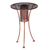 LED End Table Solar Garden Bistro Table Outdoor Silhouette Light Bronze Finish Warm White