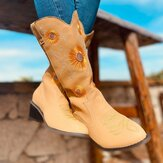Women's Large Size Daisy Embroidered Chunky Heel Pointed Toe Mid-Calf Cowboy Boots