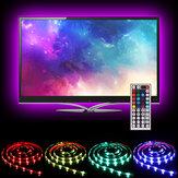 SOLMORE 2 * 40CM + 2 * 60CM USB LED TV Kit de luz de tira de retroiluminación RGB Monitor Lámpara + 44 teclas Control remoto DC5V